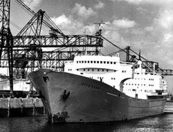 """Kernforschungsschiff """"Otto Hahn"""" im Hamburger Hafen im Juni 1970"""